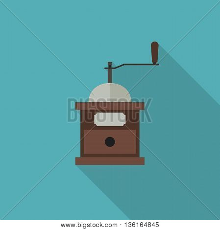Coffee grinder icon. Flat illustration of coffee grinder with long shadow.