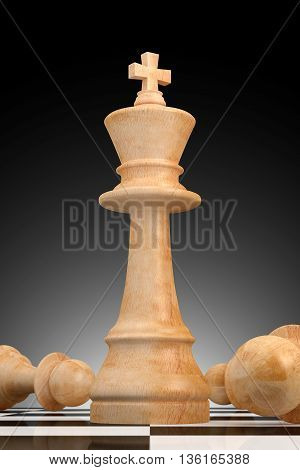 Outstanding business concept illustrated by chess in 3D rendering.