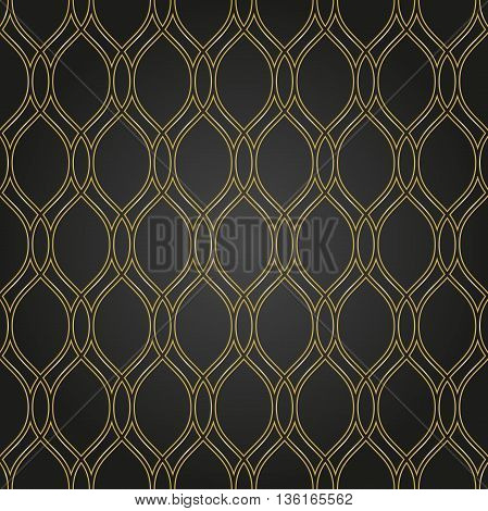 Seamless ornament. Modern geometric pattern with repeating golden wavy elements
