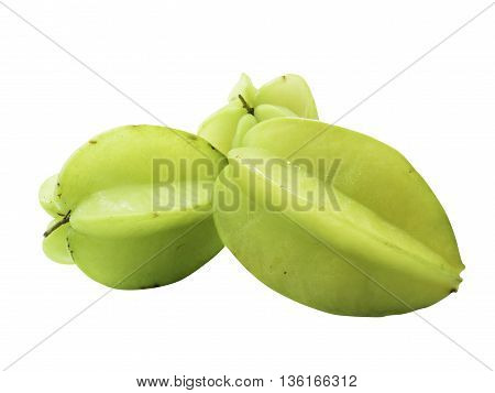 Starfruit And Starfruit Slice On A White Background Isolate ,clipping Path In
