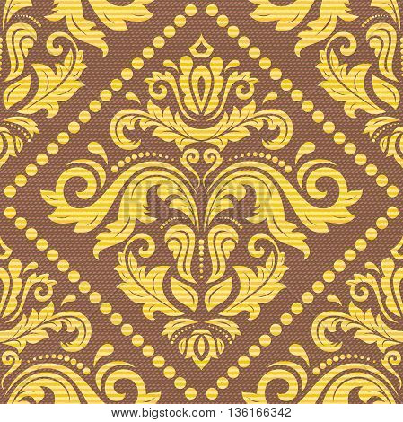 Seamless oriental ornament in the style of baroque. Traditional golden classic pattern