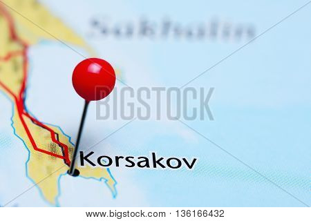 Korsakov pinned on a map of Russia