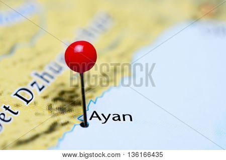 Ayan pinned on a map of Russia
