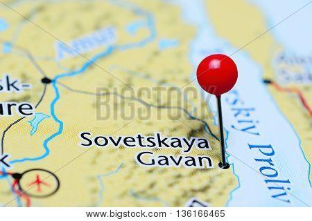 Sovetskaya Gavan pinned on a map of Russia