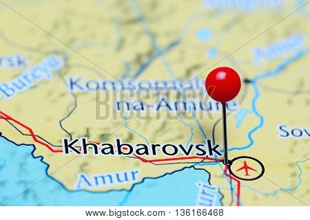 Khabarovsk pinned on a map of Russia