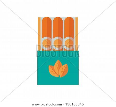 cigars vector illustration. Tobacco smoke flat icon. nicotine cigarette isolated on white background. Cuban luxury Cigar