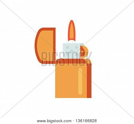 Lighter vector illustration. gas flame flat icon. fire gasoline metal lighter isolated on white background