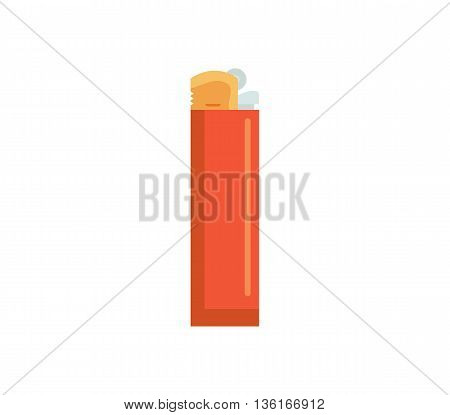 Lighter vector illustration. gas flame flat icon. fire gasoline plastic lighter isolated on white background