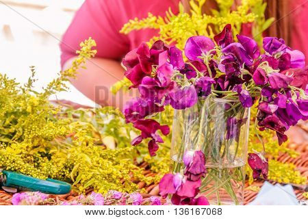 florist at work, focus on flowers