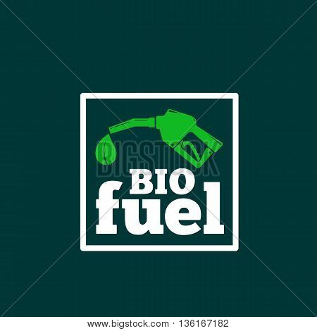 Vector Logo or Sign Template. Abstract Bio Fuel Concept. Fueling Pistol and a Leaf Symbol with Typography. On Dark Green Background.