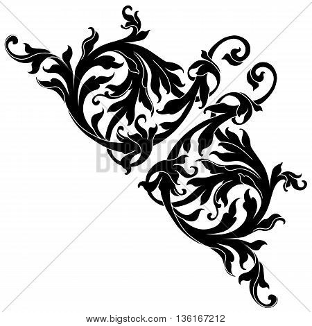 Vintage baroque frame scroll ornament , corner ornament, vine ornament, victorian ornament, royal ornament, swirl ornament, vintage ornament. Corner decorative. Vector.