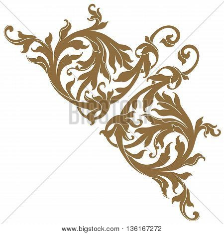 Golden vintage baroque frame scroll ornament , corner ornament, vine ornament, victorian ornament, royal ornament, golden ornament, vintage ornament. Corner decorative. Vector.