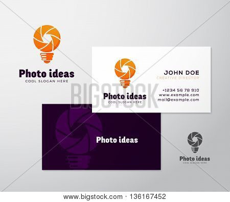 Abstract Vector Logo with Business Card Template or Mock-up. Shutter and Light Bulb Concept Symbol. Diaphragm Icon. Photography Sign. Modern Typography and Realistic Soft Shadows. Isolated.