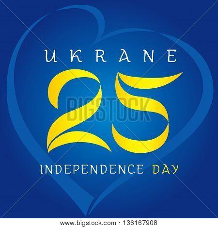 25 anniversary ukraine independence day. Ukraine Independence Day vector design 25th anniversary in heart on blue background