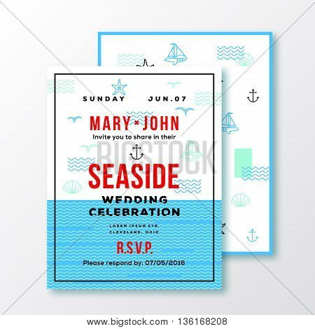 Sea Side Wedding Invitation Card or Ticket Template. Modern Typography and Nautical Symbols on Background. Red, Blue, White Colors. Isolated.