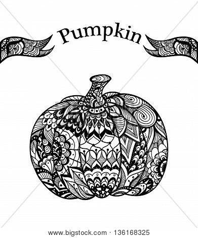 Pumpkin with  Zen-tangle  pattern black on white for coloring page or relax coloring book or for decorate package clothes or flyers banners Post Card on celebrating Halloween