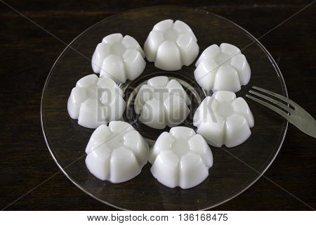 Jelly made from water coconut dessert Thailand.
