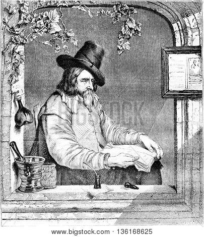Gabriel Metsu, Dutch school, vintage engraved illustration. Magasin Pittoresque 1836.