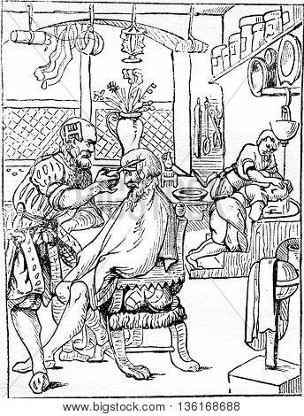The barber, vintage engraved illustration. Magasin Pittoresque 1836.