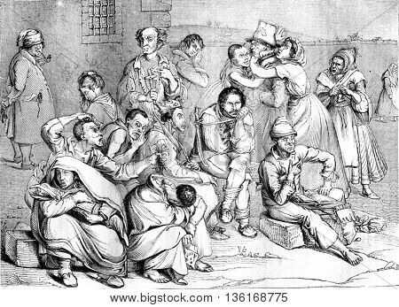 The Madhouse, vintage engraved illustration. Magasin Pittoresque 1836.