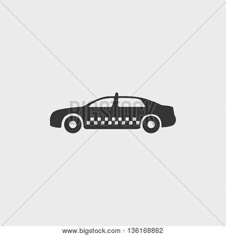 Taxi icon in a flat design in black color. Vector illustration eps10