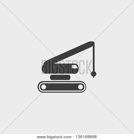 crane icon in a flat design in black color. Vector illustration eps10