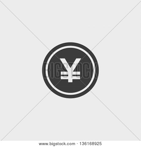 Yuan Icon in a flat design in black color. Vector illustration eps10