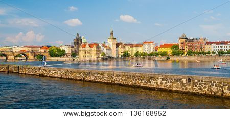 Prague Old Town towers with Charles Bridge over Vltava river, Prague, Czech Republic