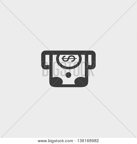 Simple money from an ATM icon in a flat design in black color. Vector illustration eps10