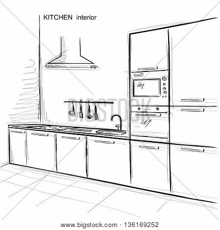 Kitchen Interior Room.vector Sketchy Illustration On White