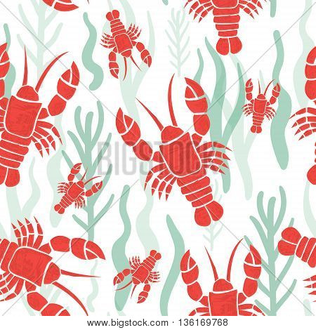 Seamless pattern with lobster. Marine texture with lobster seaweed. Perfectly look on fabric wrapping textile. Vector illustration