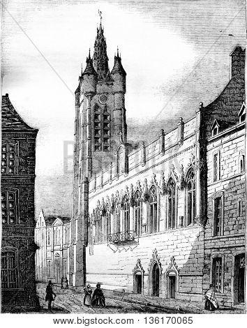 City Hall of Douai, Northern Department, vintage engraved illustration. Magasin Pittoresque 1836.