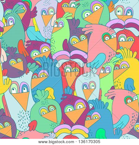 Seamless pattern with cute colorful birds. Perfectly look on fabrictextilewebetc. Vector Illustration