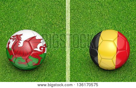 Team balls for Wales vs Belgium football tournament match, 3D rendering