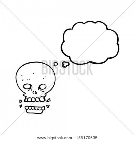 freehand drawn thought bubble cartoon scary skull