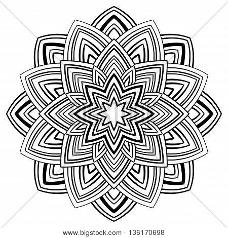 Vector simple mandala on a white background. Oriental ornament. Round element for design. Sketch for tattoo.