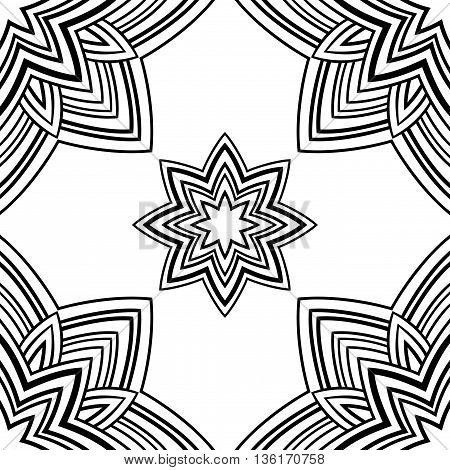Seamless pattern of mandala in the shape of star on a white background. Oriental ornament. Template for carpet shawl wallpaper textile.