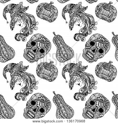 Seamless pattern with witch skill pumpkins black white  in Zen-tangle or Zen-doodle style for coloring page or relax coloring book or for decoration flyers banners Post Card on celebrating Halloween