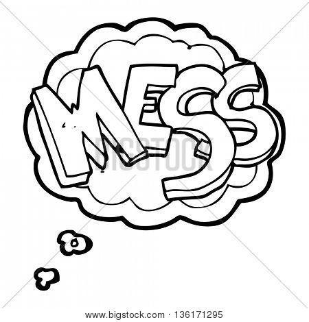 freehand drawn thought bubble cartoon mess