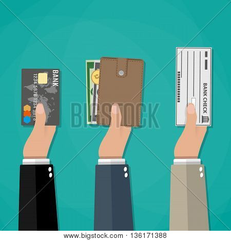Hands holds wallet with cash, credit debit card and bank check. payment options, vector illustration in flat style on green background