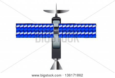 A typical satellite with solar panel wings over a white background