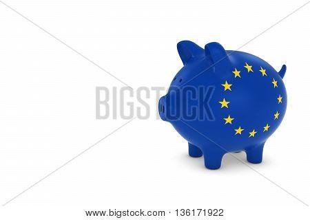 Eu Flag Piggy Bank With White Copy Space 3D Illustration