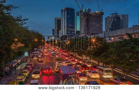 Bangkok Thailand - Jun 25 2016 Traffic jam in rush evening hour in Chatuchak area