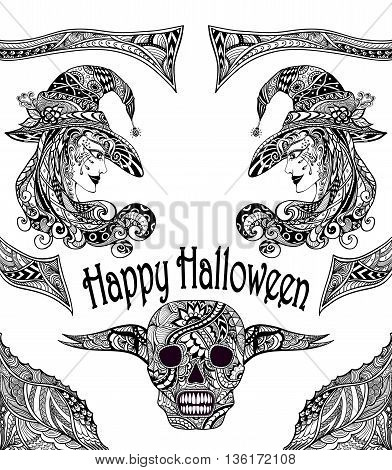 Halloween Set  with witch skill black white  in Zen-tangle or Zen-doodle style for coloring page or relax coloring book or for decoration flyers banners Post Card on celebrating Halloween