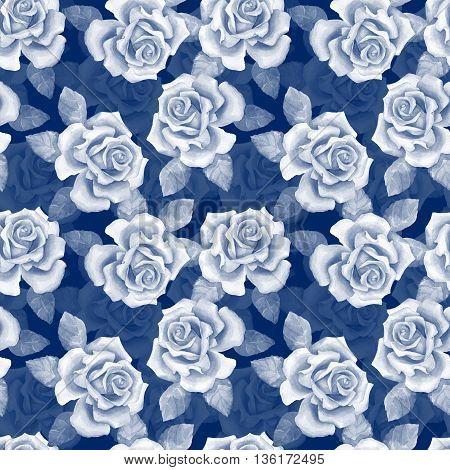 Beautiful buds. Blue watercolor roses pattern 10