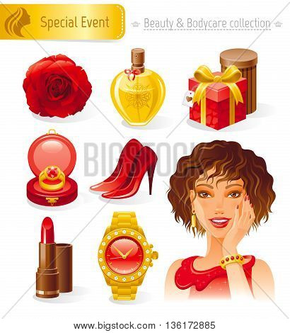 Beauty and cosmetics icon set with beautiful young adult woman, holding her hand near face on white background. Healthy lifestyle symbols for peoples hair, skin and body care