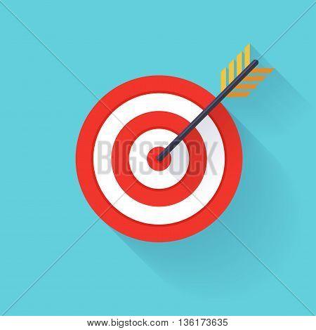Target Bullseye Or Arrow On Target Flat Icon. Flat Design Modern Vector Illustration Concept..