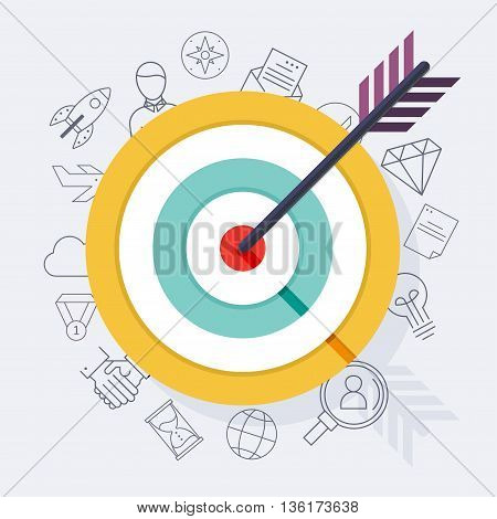 Target Bullseye Or Arrow On Target Flat Icon. Flat Design Modern Vector Illustration Concept..
