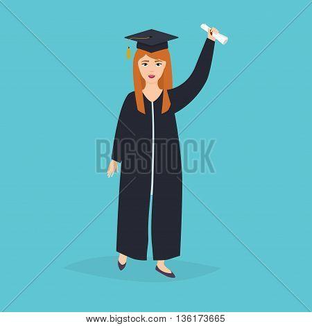 Graduate girl in the mantle keeps in hands graduation diploma. University students graduation. Flat design modern vector illustration concept.