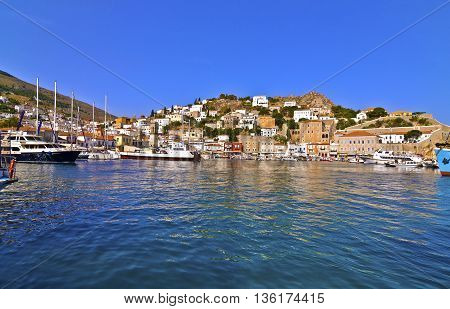 landscape of Hydra island Saronic Gulf Greece